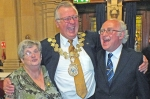 Cllr David Ridgeway shares a joke with Cora and Danny